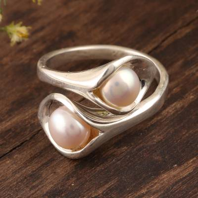 Cultured pearl wrap ring, Lily Twins