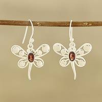 Garnet dangle earrings, 'Radiant Butterflies' - Butterfly-Themed Garnet Dangle Earrings from India