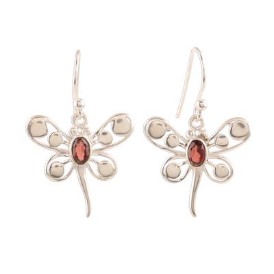 Garnet dangle earrings, 'Radiant Butterflies' - Butterfly-Themed Garnet Dangle Earrings from India