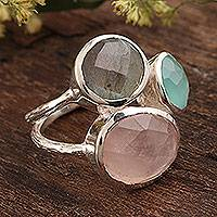 Multi-gemstone cocktail ring, 'Sparkling Blossom' - 16.5-Carat Multi-Gemstone Cocktail Ring from India