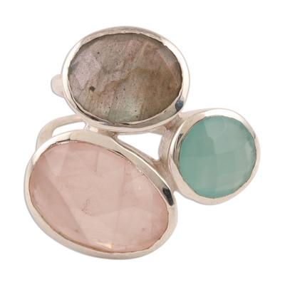 Multi-gemstone cocktail ring, 'Sparkling Blossom' - 16.5-Carat Multi-Gemstone Cocktail Ring from India