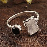 Rainbow moonstone and onyx wrap ring, 'Stylish Combo' - Rainbow Moonstone and Onyx Wrap Ring from India