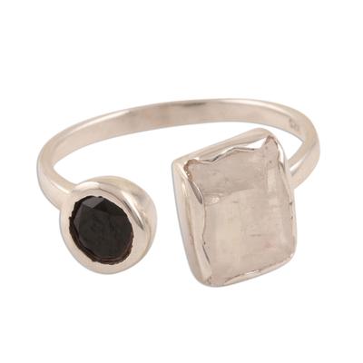 Rainbow moonstone and onyx wrap ring, 'Stylish Combo' - Rainbow Moonstone and Onyx Wrap Ring from India