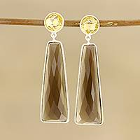Smoky quartz and citrine dangle earrings, 'Glorious Dazzle' - 14.5-Carat Smoky Quartz and Citrine Dangle Earrings