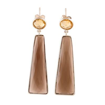 Smoky quartz and citrine dangle earrings, 'Glorious Dazzle' - 14.5-Carat Smoky Quartz and Citrine Dangle Earrings
