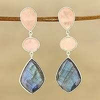 Multi-gemstone dangle earrings, 'Delightful Trio' - 29-Carat Multi-Gemstone Dangle Earrings from India