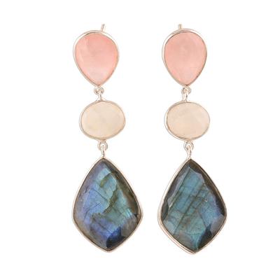 Multi-gemstone dangle earrings, 'Delightful Trio' - 29-Carat Multi-Gemstone Dangle Earrings from India
