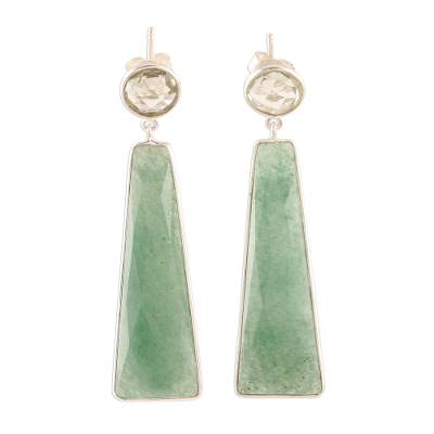 Aventurine and Prasiolite Dangle Earrings from India