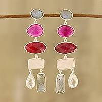 Multi-gemstone dangle earrings, 'Glittering Combination' - 48-Carat Multi-Gemstone Dangle Earrings from India