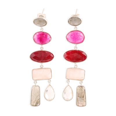 Multi-gemstone dangle earrings, 'Glittering Combination' - 48-Carat Multi-Gemstone Dangle Earrings from India
