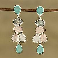Multi-gemstone dangle earrings, 'Colorful Teardrops'