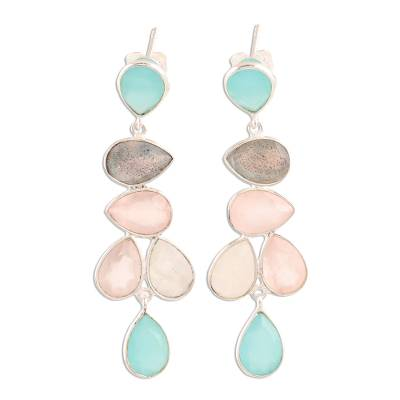 Multi-gemstone dangle earrings, 'Colorful Teardrops' - Teardrop Multi-Gemstone Dangle Earrings from India