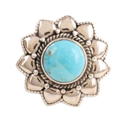 Floral Reconstituted Turquoise Cocktail Ring from India