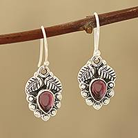 Garnet dangle earrings, 'Teardrop Leaves' - Leaf-Themed Garnet Dangle Earrings from India