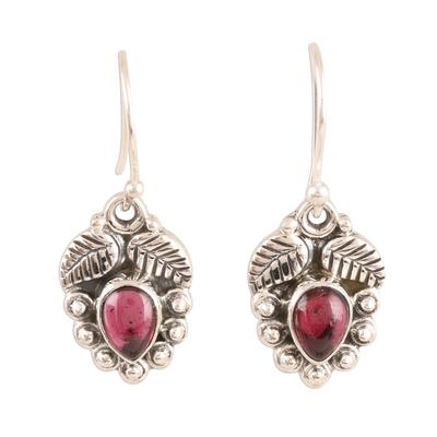 Garnet dangle earrings, 'Teardrop Leaves' - Leaf-Themed Garnet Dangle Earrings from India