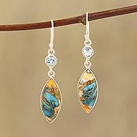 Blue topaz and composite turquoise dangle earrings, 'Elegance of the Beach' - Blue Topaz and Composite Turquoise Dangle Earrings