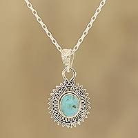 Reconstituted turquoise pendant necklace, 'Dotted Charm' - Reconstituted Turquoise and Sterling Silver Pendant Necklace