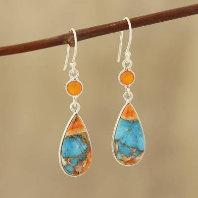Carnelian and composite turquoise dangle earrings, 'Teardrop Glamour' - Carnelian and Composite Turquoise Dangle Earrings from India