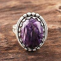 Charoite cocktail ring, 'Regal Glory' - Oval Charoite Cocktail Ring Crafted in India