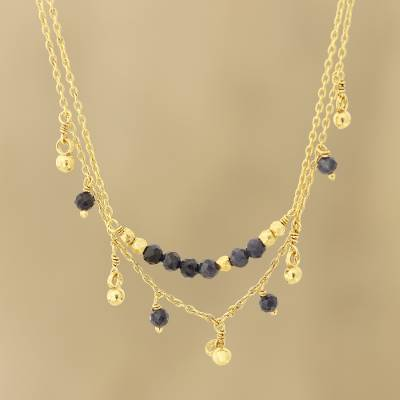 Gold plated iolite beaded pendant necklace, 'Glorious Dance' - Gold Plated Iolite Beaded Pendant Necklace from India