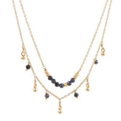 Gold Plated Iolite Beaded Pendant Necklace from India