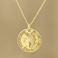 Gold plated sterling silver pendant necklace, 'Vintage Coin' - Vintage French Coin Gold Plated Sterling Silver Necklace