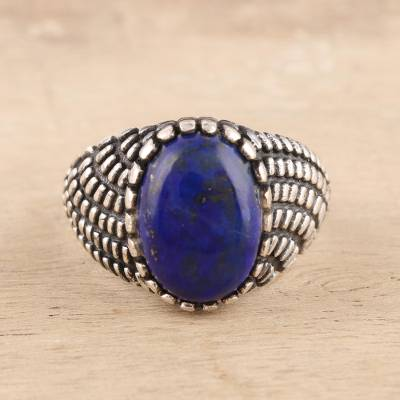Men's lapis lazuli ring, 'Magnificent Pool' - Men's Oval Lapis Lazuli Ring from India
