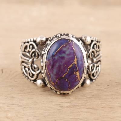 Men's composite turquoise ring, 'Masculine Royalty' - Men's Purple Composite Turquoise Ring from India