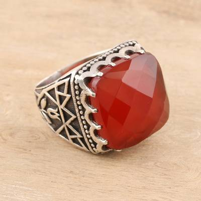 Men's onyx ring, 'Fiery Magnificence' - Men's 24-Carat Onyx Ring from India