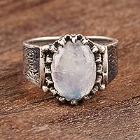 Men's rainbow moonstone ring, 'Cloud Prongs' - Men's Oval Rainbow Moonstone Ring from India
