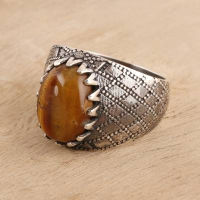 Men's tiger's eye ring, 'Dotted Diamonds' - Men's Tiger's Eye Ring Crafted in India