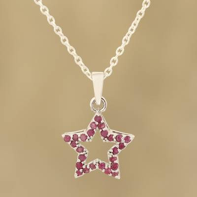 Ruby pendant necklace, 'Starry Glitter' - Faceted Ruby Star Pendant Necklace from India