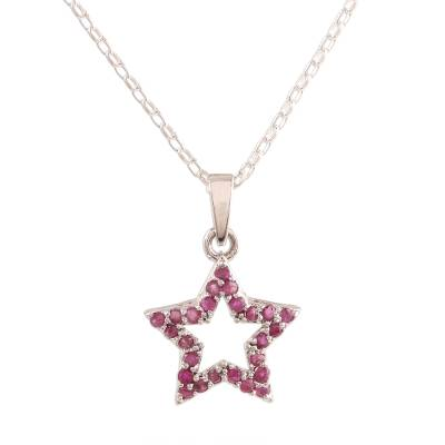 Faceted Ruby Star Pendant Necklace from India