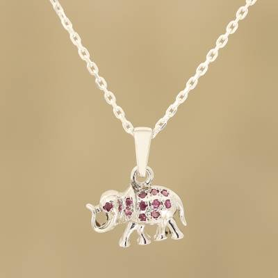 Ruby pendant necklace, Elephant Glitter