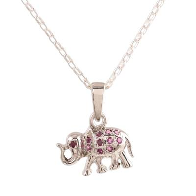 Faceted Ruby Elephant Pendant Necklace from India