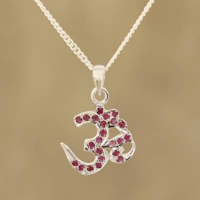 Ruby pendant necklace, 'Glittering Om' - Faceted Ruby Om Pendant Necklace from India