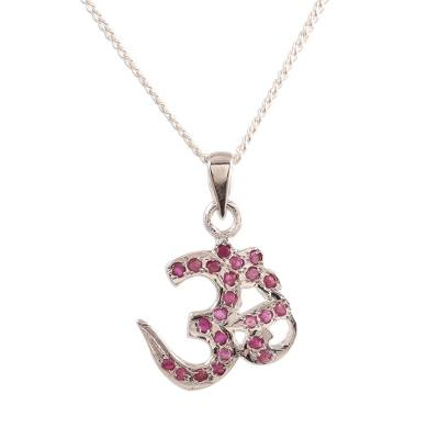 Faceted Ruby Om Pendant Necklace from India