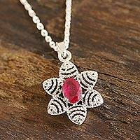 Ruby pendant necklace, 'Flowery Glam' - Foral Faceted Ruby Pendant Necklace from India