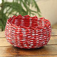 Recycled paper basket, 'Red and White' - Red and White Recycled Paper Basket from India
