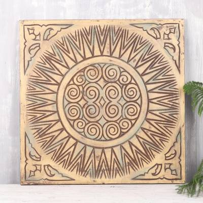 Mango wood relief panel, 'Mystical Creation' - Distressed Square Mango Wood Relief Panel from India