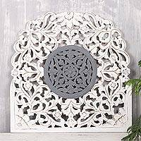 Wood relief panel, 'Dusk Muse' - Floral Wood Relief Panel in White and Grey from India