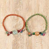 Quartz and wood beaded stretch bracelets, 'Boho Colors' (pair) - Quartz and Wood Beaded Stretch Bracelets from India (Pair)