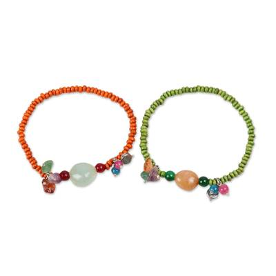Quartz and Wood Beaded Stretch Bracelets from India (Pair)