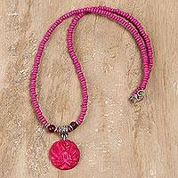 Bone and wood beaded pendant necklace, 'Flowery Medallion in Pink' - Floral Bone and Wood Beaded Pendant Necklace in Pink