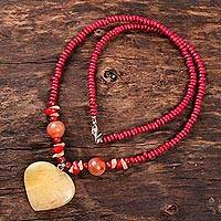 Quartz and agate beaded pendant necklace, 'Glorious Heart' - Heart-Shaped Quartz and Agate Beaded Pendant Necklace