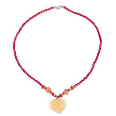 Heart-Shaped Quartz and Agate Beaded Pendant Necklace