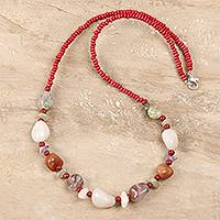 Agate beaded long necklace, 'Glorious Strand' - Freeform Agate Beaded Long Necklace from India