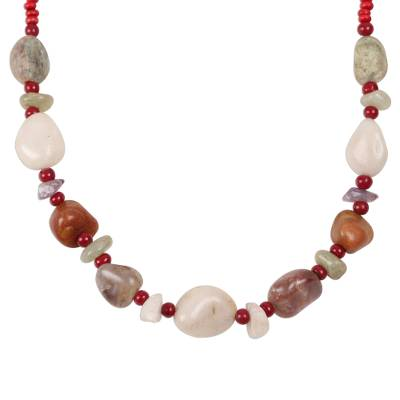 Freeform Agate Beaded Long Necklace from India