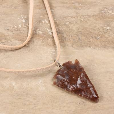 Agate pendant necklace, Brown Arrowhead