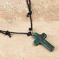 Agate pendant necklace, 'Cross of New Life' - Green Agate Cross Pendant Necklace Crafted in India